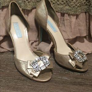 "Prom heels SB "" Glam""Betsey Johnson glitter gold"